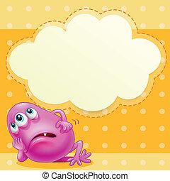 Ein fettes, pinkes Monster mit einem leeren Wolkenmuster hinten