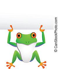 Ein Frosch mit leerem Zeichen