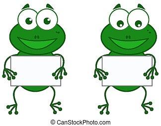 Ein Frosch mit Schild.