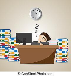 Ein Geschäftsmann, der zur Arbeitszeit schläft.