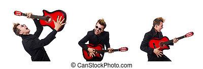 Ein Gitarrenspieler, isoliert auf weiß.