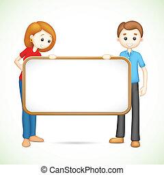 Ein glückliches 3d Paar in Vektor hält Placard