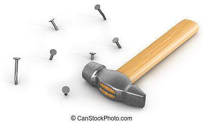 Ein Hammer mit ein paar eingehämmerten und abgebogenen Nägeln