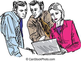 Ein Haufen erfolgreicher Geschäftsleute, die mit Laptop im Büro arbeiten. Vektor Illustration
