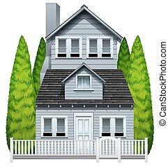 Ein Haus mit einem Zaun.