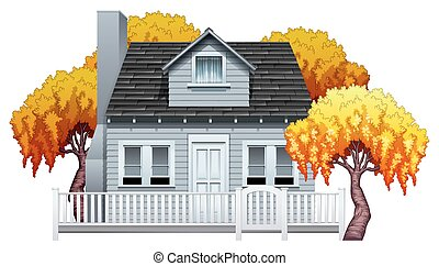 Ein Haus mit Zaun.
