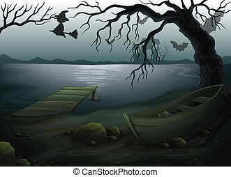Ein Holzboot unter dem Baum.