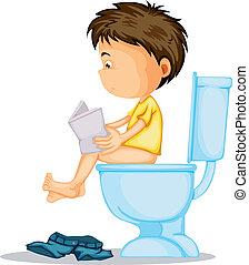 Ein Junge, der auf der Toilette sitzt