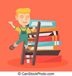 Ein Junge, der eine Leiter hochklettert.