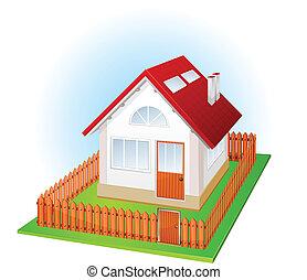 Ein kleines Haus mit Zaun