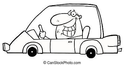 Ein komischer grinsender Mann, der ein Auto fährt