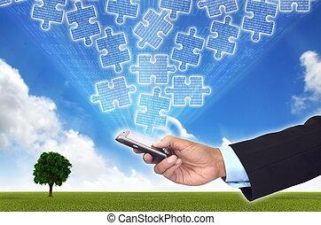 Ein Konzept des Sammelns und Zugriff auf Teile von Geschäftsinformationen mit einem Smartphone.