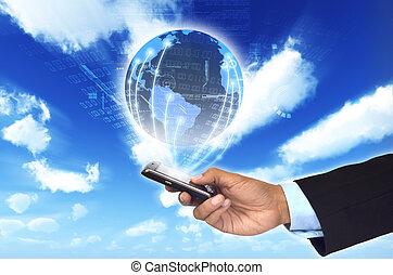Ein Konzept, wie ein Smartphone einen Geschäftsmann mit einem weltweiten Informationsnetzwerk verbinden kann.