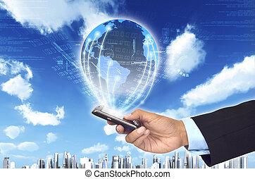 Ein Konzept, wie ein Smartphone einen Geschäftsmann mit einem weltweiten Informationsnetzwerk verbinden kann. Mit futuristischen Hintergrund