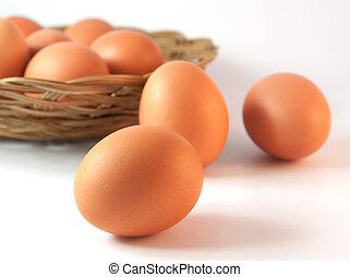 Ein Korb mit Eiern mit einem davor