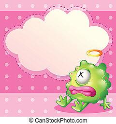 Ein krankes, grünes Monster vor dem leeren Wolkenmuster