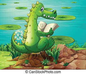 Ein Krokodil in der Nähe des Teichs.