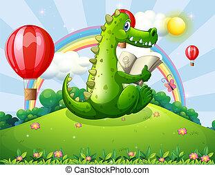 Ein Krokodil liest auf dem Hügel mit einem Regenbogen.