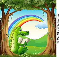 Ein Krokodil liest unter dem Baum unter dem Regenbogen.