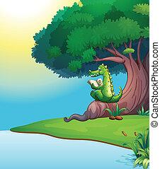 Ein Krokodil liest unter dem Baum.