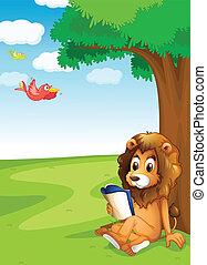 Ein Löwe liest unter dem Baum