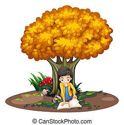 Ein Mädchen, das unter dem Baum liest.