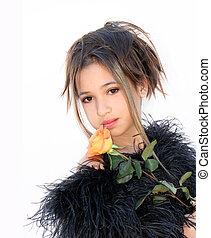 Ein Mädchen mit einer Rose