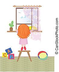Ein Mädchen schaut ins Fenster