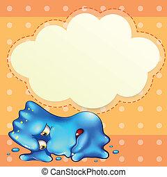 Ein müdes, blaues Monster unter der leeren Wolke