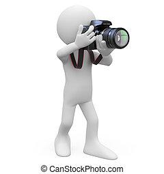 Ein Mann, der ein Foto mit seinem SLR macht