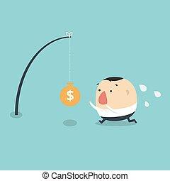Ein Mann, der Geld fürs Angeln sucht. Vector Illustration
