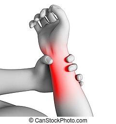 Ein Mann, der Schmerzen im Arm hat