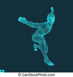 Ein Mann, der Yoga trainiert. 3D-Modell des Menschen. Trainingskonzept.