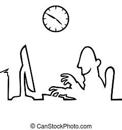 Ein Mann hinter einem Computer, der 9 bis 5 arbeitet