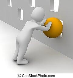 Ein Mann versucht, den orangenen Ball durch ein kleines Loch zu schieben. 3D Illustration.