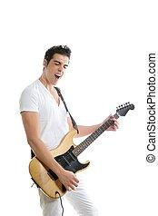 Ein Musiker, der elektrische Gitarre spielt