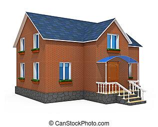 Ein neues Privathaus, isoliert auf weißem Hintergrund