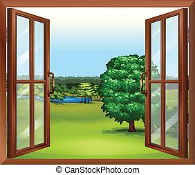 Ein offenes Holzfenster.