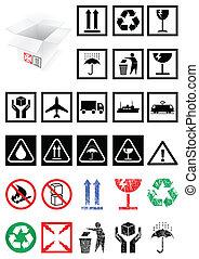 Ein Päckchen Symbole und Etiketten.