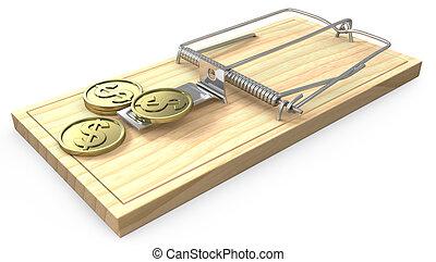 Ein paar goldene Münzen auf einer Mausefalle