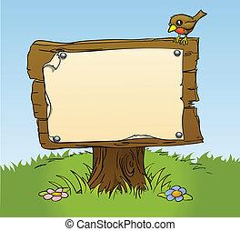 Ein rustikales Holzzeichen