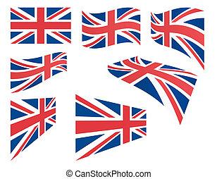 Ein Satz vereinter Königreichflaggen.