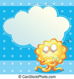 Ein schlafendes, orangenes Monster vor dem leeren Wolkenvorhang.