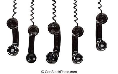 Ein schwarzer Telefonempfänger mit weißem Hintergrund