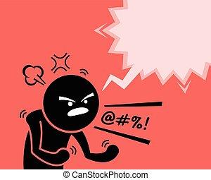 Ein sehr wütender Mann, der seine Wut, Wut und Unzufriedenheit ausdrückt, indem er fragt, warum.