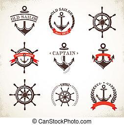 Ein Set alter nautischer Symbole