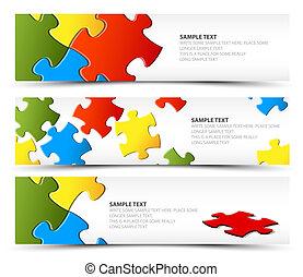 Ein Set horizontaler Puzzle-Banner