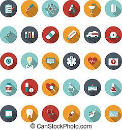 Ein Set medizinischer Ikonen. Vector Illustration