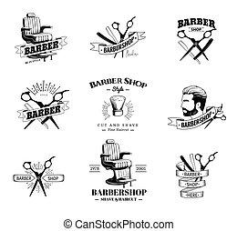Ein Set Retro-Barber-Shop Embleme.