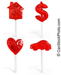 Ein Set süßer Süßigkeiten Haus-Dollar-Herz und Auto